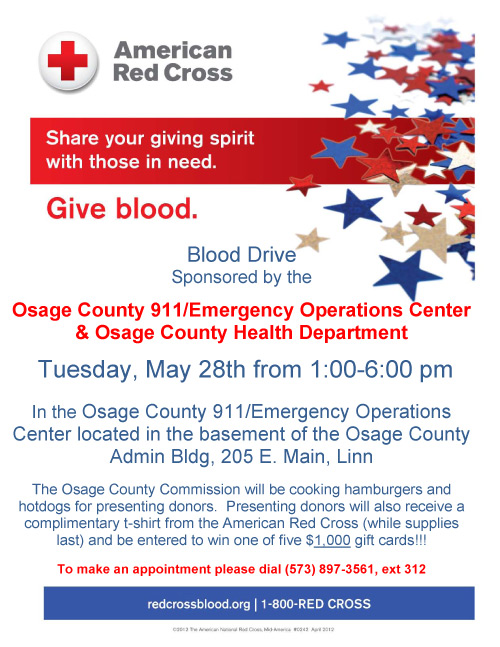 Blood Drive, Tuesday, May 28